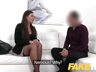 Smartly dressed brunette fucks casting agent...