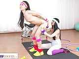 Fitness Rooms Asian Japanese lesbian fucking in retro gym