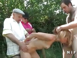Blonde in foursome outdoor...