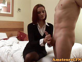 Redhead cfnm femdom spanking perverts ass...