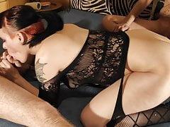 Slutwife do grateful edging blow & handjob for raw sex