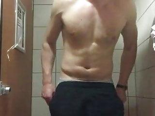 Chav lad wankin in gym showers