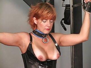 Tortures his redead brunette and blonde bdsm slaves...