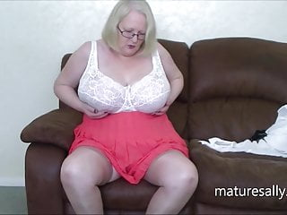 Sally in a full lacy bra and silky panties