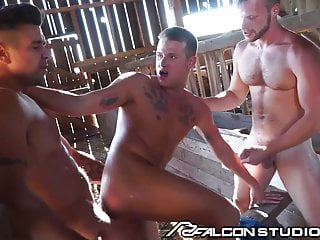 FalconStudios – Rough Gay Threesome On The Farm