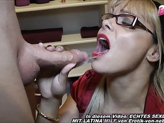 German blonde milf with glasses private fuck in bathroom