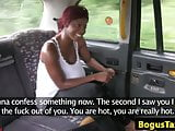 Cheeky ebony blowing cabbies cock until cum