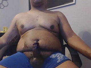 Latino cub plays with nipples and shoots all over himself