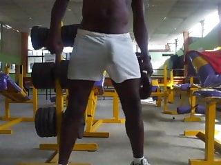 Hard cock masturbates at the gym...