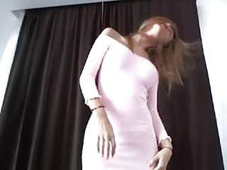 Under her pink dress