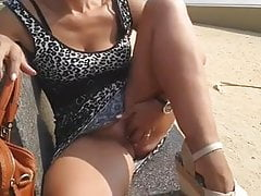 wife in the park bench
