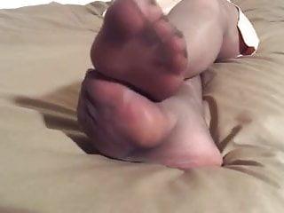 bareley black pantyhose nylon feet
