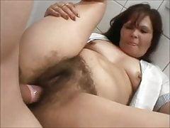 Hairy mature fucked hard in toilet
