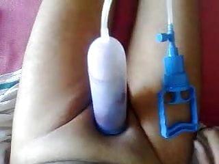Pumping pierced cock