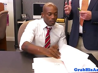 Hung black stud assfucked in office toilet...