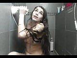 Super Sexy Long Haired Brunette Dildos, Fake Cum, Shower