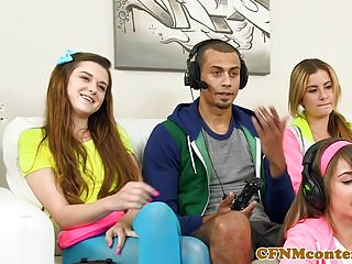Cfnm gamer babes sharing the one hard cock...