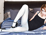 Blonde teen with small tits wanks in sheer blue pantyhose