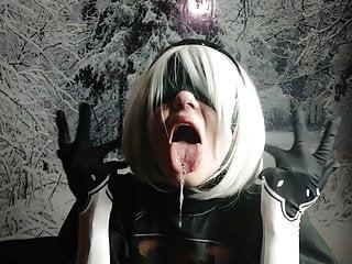 Nier Automata cosplay – 2B Ahegao face
