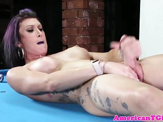 Tattooed pierced tgirl wanks on pooltable