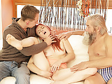 DADDY4K. Chick's shaved pussy is fingered by old man and...