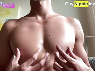 Muscle asian nipple and pecs...