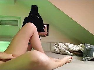 Femdom masturbation, slave not allowed to look at