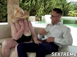 Kinky grandma Norma B pussy licked and fingered outdoors