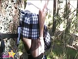 Sissy bitch toying and cumming handsfree in the forest