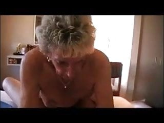 Very old horny granny is riding her young boytoy's cock
