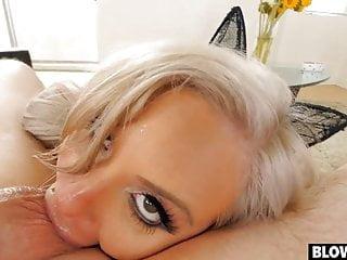 Huge titty blonde slurps cock and eats balls