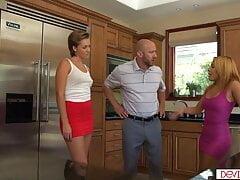 Latina wife masturbating while husband fucking other woman