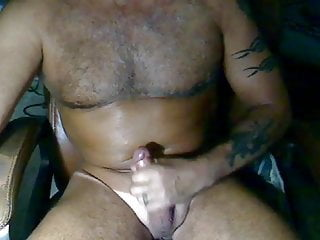 Tattoo Daddy mature masturbation at home
