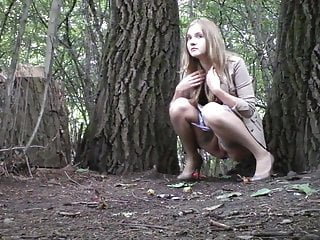 Lesbians pee on the tree, spy voyeur, one after the other