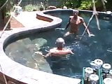 Older fellows play at the pool!
