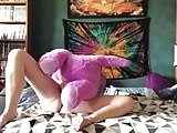 Playing with my soft toy dragon and my dildo