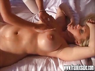 Oily blonde lesbian babes lick and finger fuck pussy