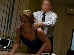 VIP4K. Young naive chick gets fucked on the desk in the loan agent's office