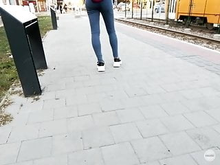 jeans thight blue Candid voyeur teen - street ass