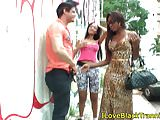 Busty nubian TS giving outdoor cocksuck