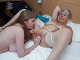 Lesbian sex with busty grandma and busty mom