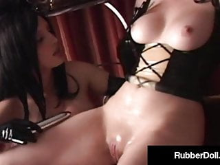 Latex Brunette video: Dildo Drilling Latex Queen Rubber Doll Pleases Shiny Client!