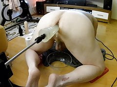 Fuckingmachine and 6 dildos in a row! Orgasm over orgasm!