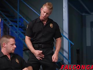 Muscle hunk prison guard anal action during work...