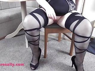 Tits grandma models her corset stockings and heels...