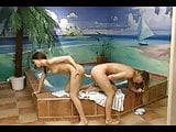 Lesbian group sex scene at the pool!