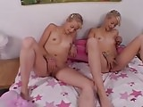 Lesbian Twins Masturbate, Giggle and Jill together