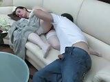 Boy wakes up mature mom