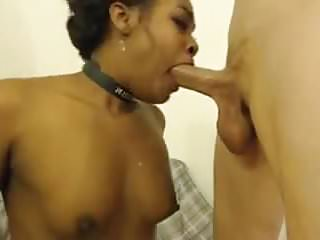Submissive black girl loves to serve white cock