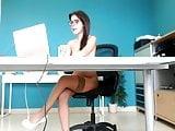 Horny Secretary in tan stockings